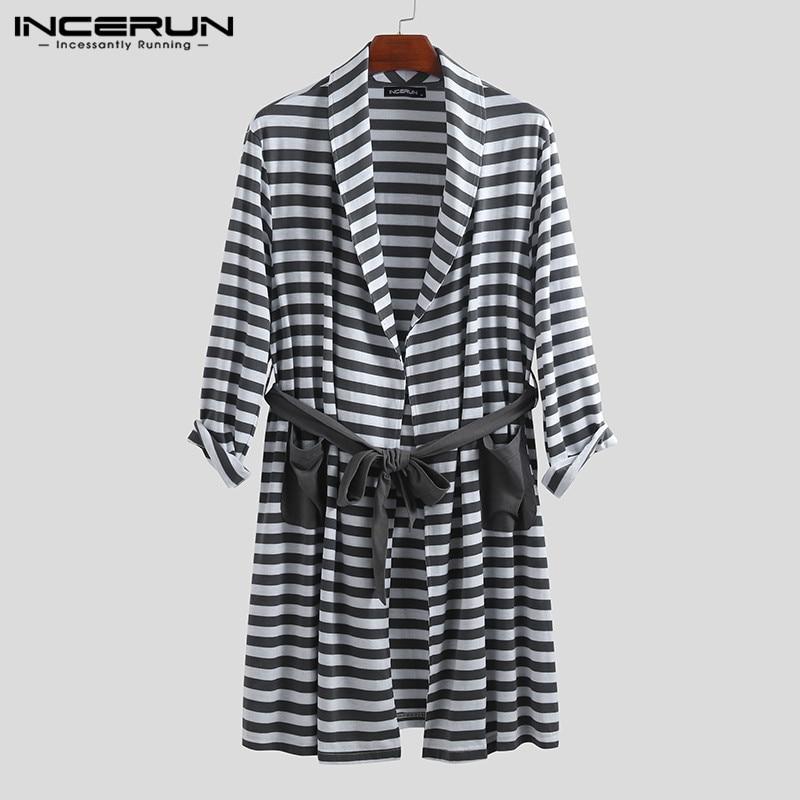 INCERUN Striped Men Pajamas Robes Fashion Homewear Kimono Pockets Lace Up Long Sleeve Casual Bathrobes Men Sleepwear 2020 S-5XL