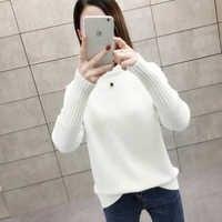 Top New Completa Blusas De Inverno Feminina Pullover Mulheres Camisola de Gola Alta Solto Cor Sólida Engrossado Com Fio Versátil
