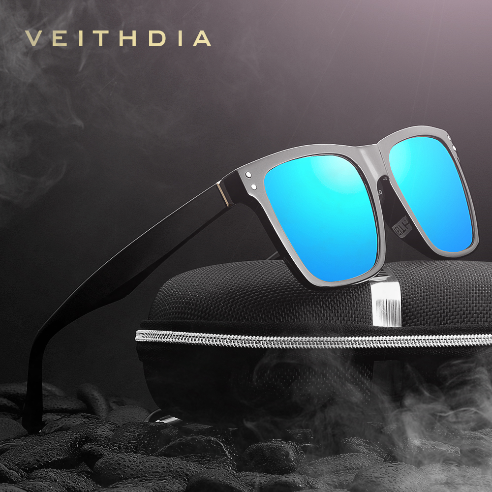 VEITHDIA Fashion Unisex Sun Glasses Photochromic Polarized Sunglasses Men Classic Square Design All-Fit Mirror Sunglass 7018