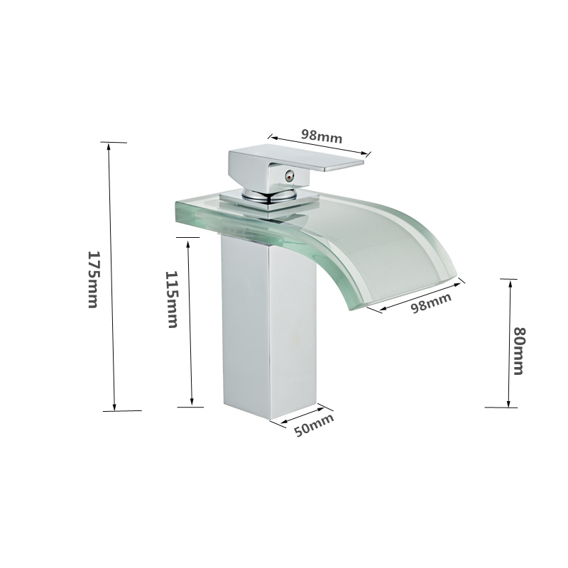 H0a87f1b368264ad399c7003e77265e72k LED Basin Faucet Brass Waterfall Temperature Colors Change Bathroom Mixer Tap Deck Mounted Wash Sink Glass Taps Hot And Cold Tap