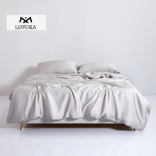 Lofuka Light Gray 100% Silk Bedding Set 6A Grade Silk Queen King Quilt Cover Bed Sheet Fitted Sheet Pillowcase For Deep Sleep lofuka women light purple 100% silk flat sheet nature silk beauty queen king bed sheet fitted sheet pillowcase for deep sleep