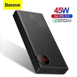 Baseus 20000 мАч Быстрая зарядка Power Bank PD 45 Вт 20000 мАч портативное Внешнее зарядное устройство для iPhone Xiaomi Mi Huawei