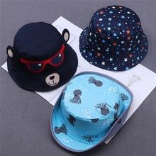 Toddler Kids Baby Boy Girl Cartoon Print Soft Visor Bucket Eaves Cap Pots Hat