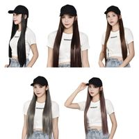 Women Long Straight Wigs Synthetic Hair Extensions with Baseball Hat Cap 40JF