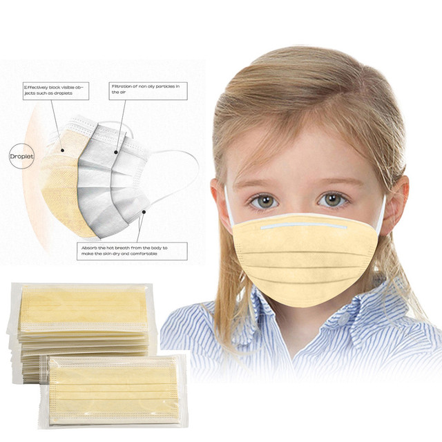 Children Generic Individual Package Disposable Yellow Protect Mouth Mask Outdoor Dustproof Windbreak 3 Layer Face Mask Masque 5