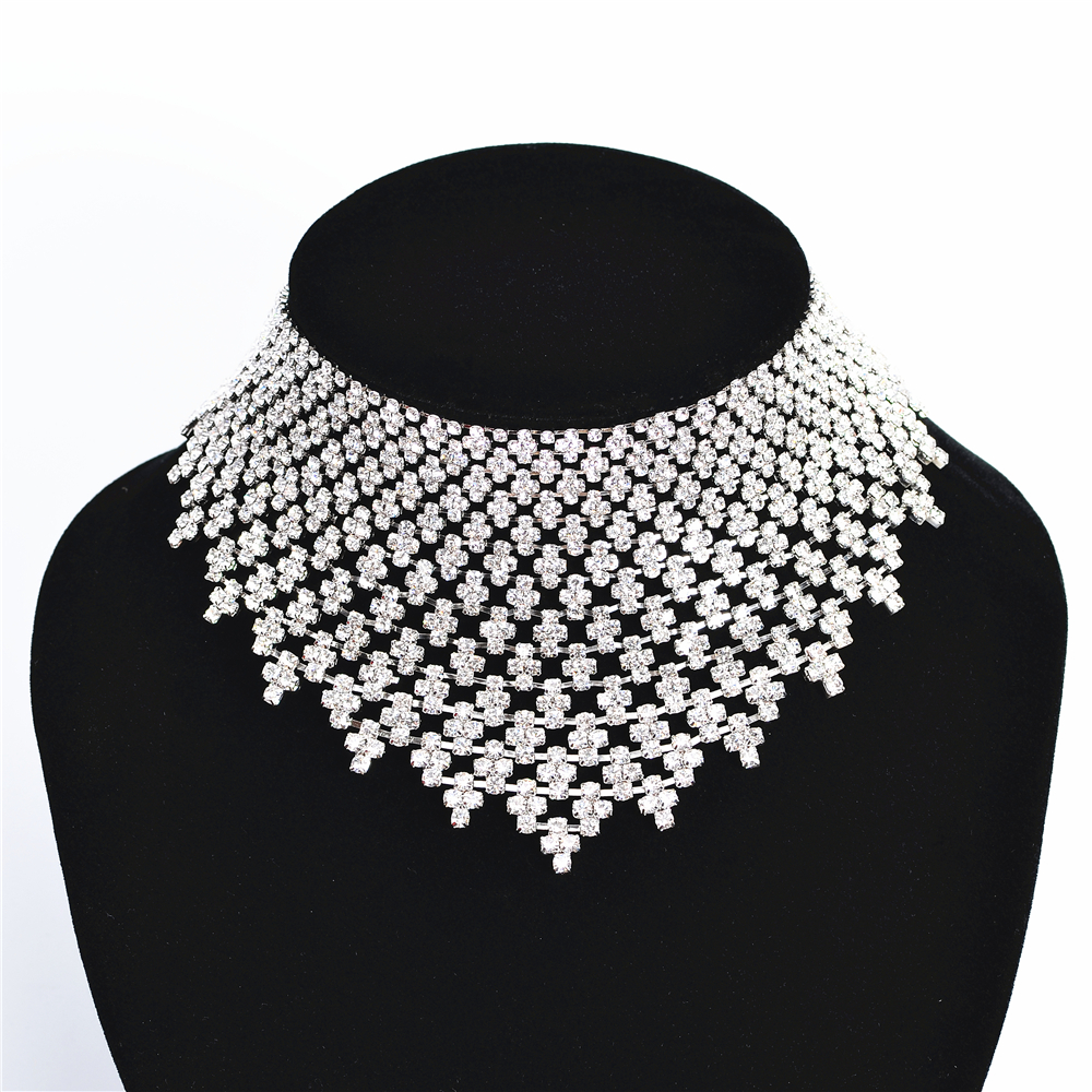 Свадебное ожерелье, свадебные ювелирные изделия с кристаллами, роскошные преувеличенные аксессуары для женского выпускного вечера H94239 ...