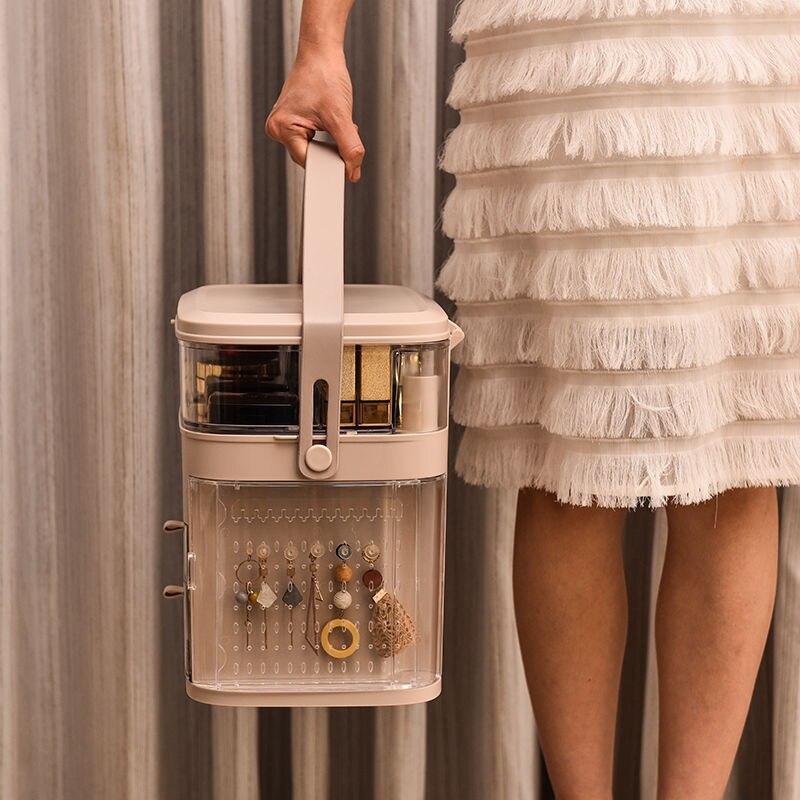 Organisateur de maquillage tiroirs de boîte de rangement de maquillage étanche à la poussière et à l'eau pour accessoire cosmétique et grand affichage cosmétique de bijoux