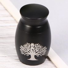 Pet Stainless Steel Cinerary Funerary Urn Jar the Printed Urn Container with Opening Screw Lid (Black)