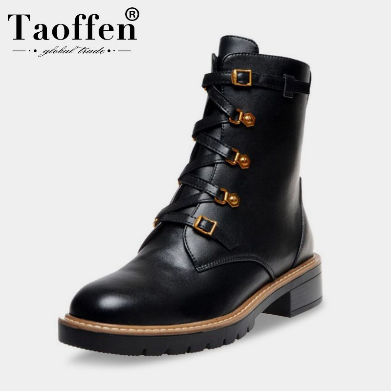Taoffen Women Real Leather Black Winter Ankle Boots Zipper Cross Strap Fashion Motorcycle Boot Casual Shoes Woman Size 34 40|Ankle Boots|   - AliExpress