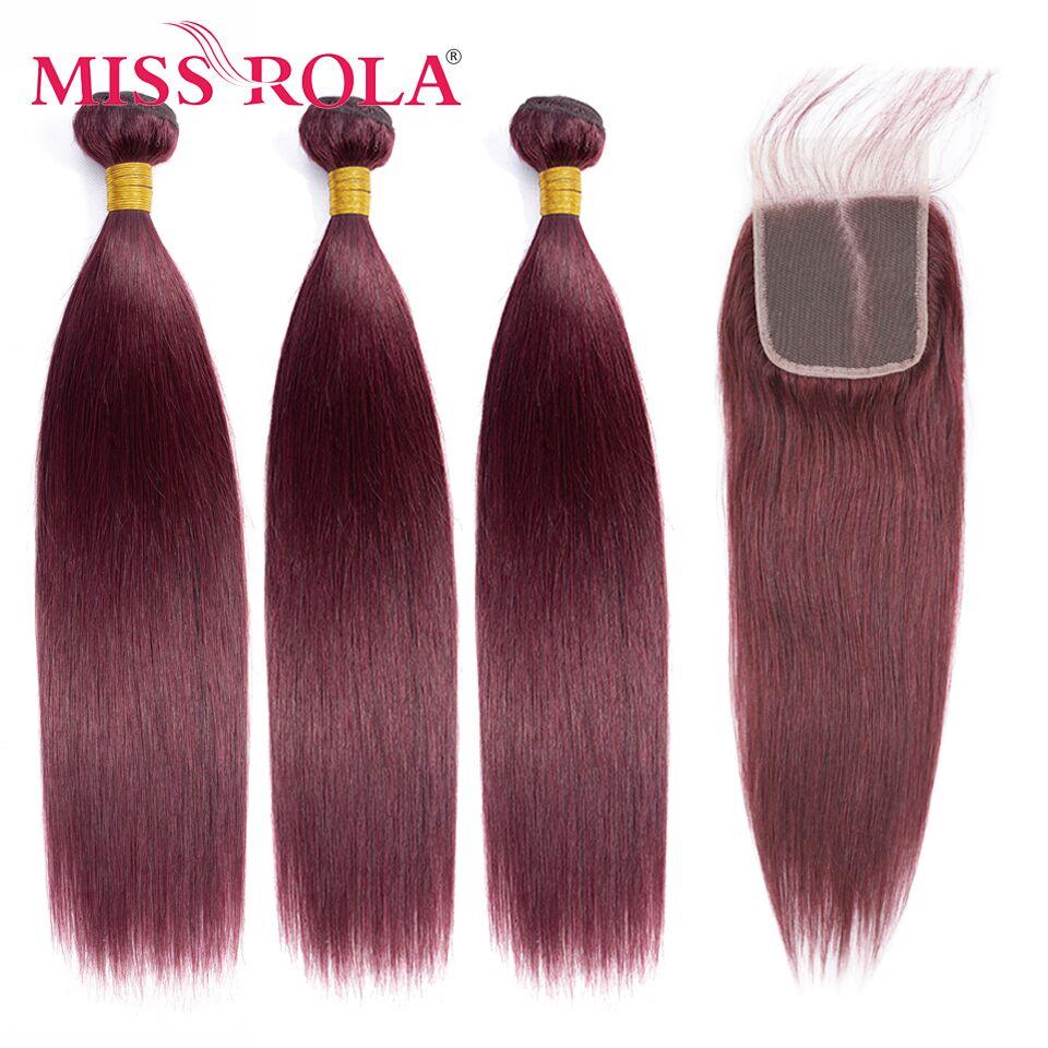 Мисс Рола волосы перуанский прямые человеческие волосы Инструменты для завивки волос 3 пряди с 4*4 застежка 27 # Мёд Blondon Волосы Remy пряди с закр...