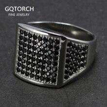 925 srebro mężczyzna czarny CZ kamienny pierścień luksusowe męskie obrączki Micro wysadzane cyrkonią sześcienną turcja biżuteria Anel Masculino