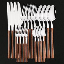 Zastawa stołowa połyskujące drewno srebrne naczynia zestaw ze stali nierdzewnej zachodniej żywności sztućce nóż widelec łyżeczka sztućce zestaw sztućców tanie tanio uniturcky CN (pochodzenie) CE UE Metal STAINLESS STEEL 304 Stainless steel Zestawy sztućców Western Flateware Spoon Fork Knife Tea Spoon Kit