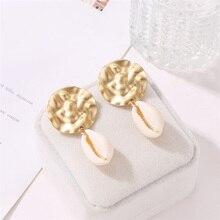 HOCOLE New DIY Sea Shell Pendant Earrings For Women Bohemian Gold Color Metal Shell Drop Earring Statement Fashion Jewelry Party цена