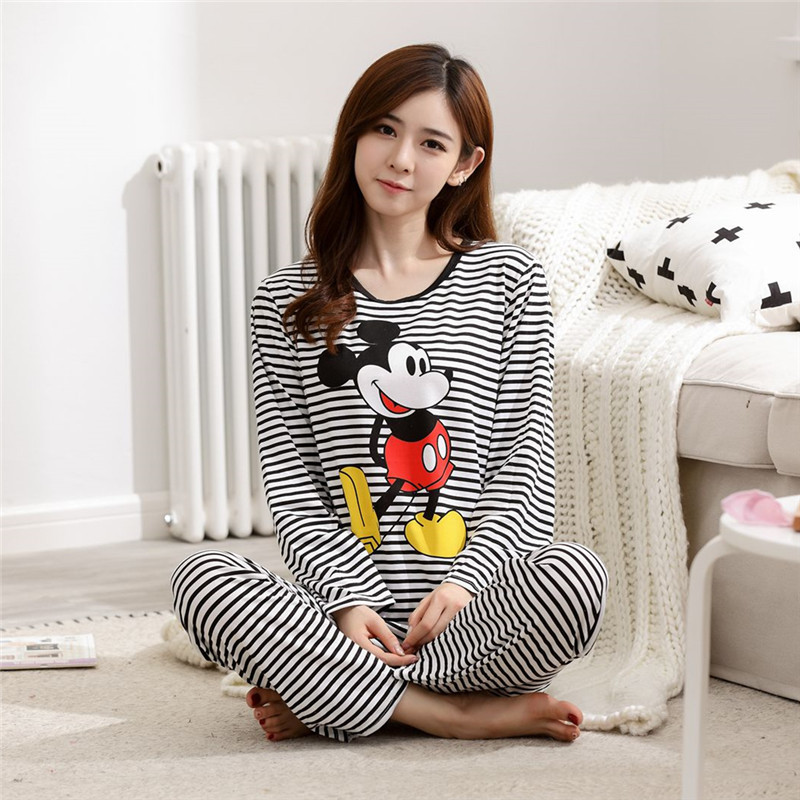 Stripes Mickey Pajamas Women's Spring Long-sleeved Pullover Cartoon Black And White Stripes Mickey Homewear Set