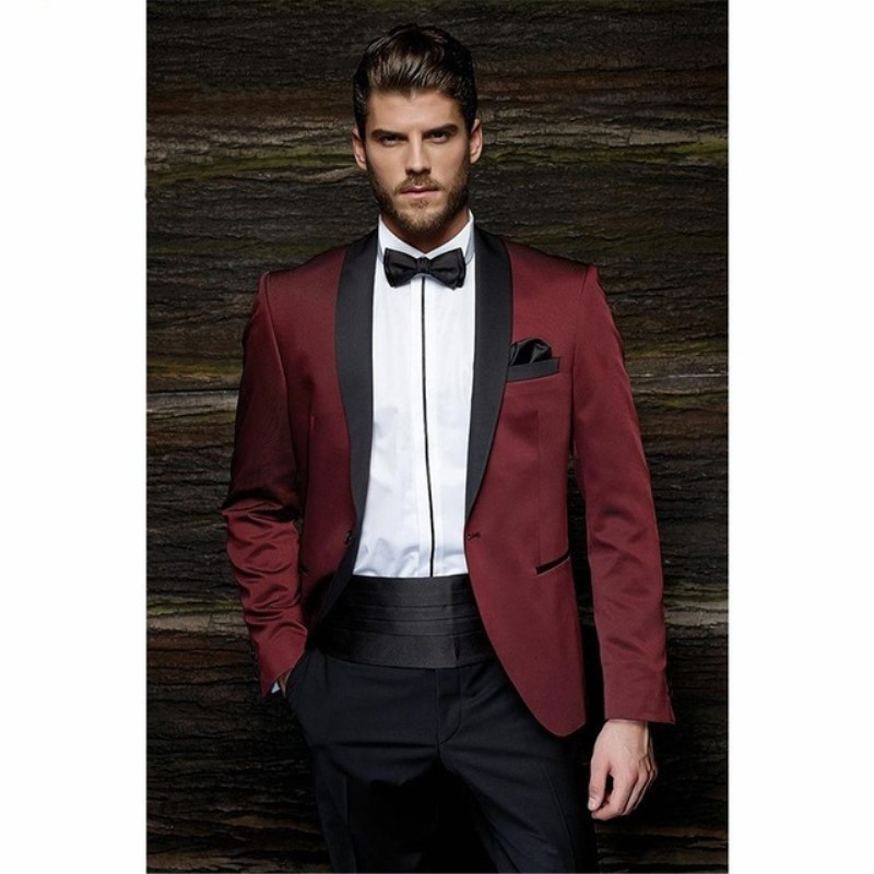 Fashion One Button Burgundy Groom Tuxedos Groom Men's Wedding Suits Ball Gown Wedding Wear Men's Suit JacketPants Belt 197