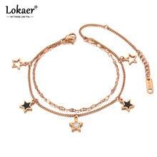 Lokaer à la mode Double couche en acier inoxydable 5 pièces étoile breloque Bracelets pour femme bohême noir acrylique chaîne lien bijoux B20180