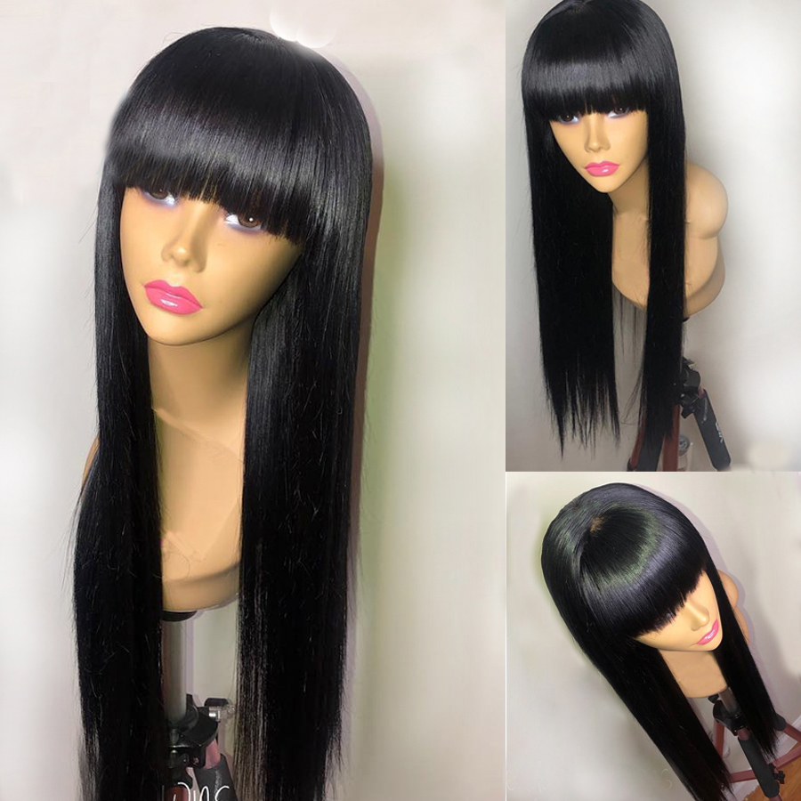 Eversilky Fringe Wig Long Staright Full Lace Human Hair Wig Peruvian Remy Hair With Bangs Pre Plucked Natural Hairline With Baby