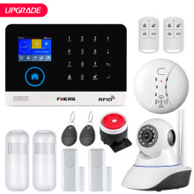 FUERS Upgrade PG103 WIFI GPRS GSM Home Security Alarm System APP Control Flash Siren Smoke Sensor PIR Motion Detector RFID DIY Set smart yiba wifi gsm gprs rfid home security alarm system housen surveillance security system wireless ip camera smoke sensor