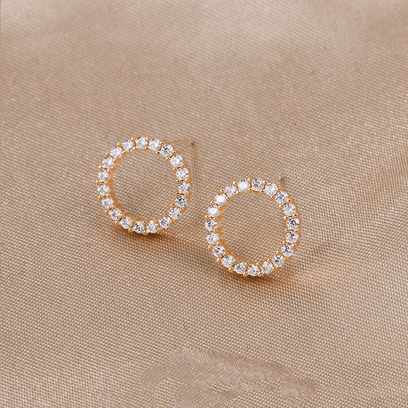 WEIMANJINGDIAN High Quality 12MM Round Circle Shape Cubic Zirconia CZ Zircon Crystal Stud Earrings in White Gold Color