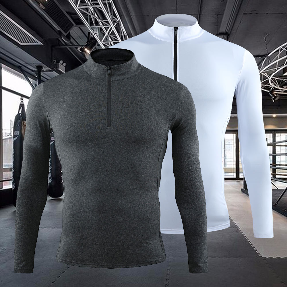 Men Sweatshirt Compression Shirt Ribs Chest Protector Training Suit Long Sleeve