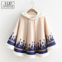 Осенний утепленный женский плащ милое пальто хлопковая накидка флисовая японский стиль Mori Girl зимнее пальто с капюшоном с заячьими ушками верхняя одежда