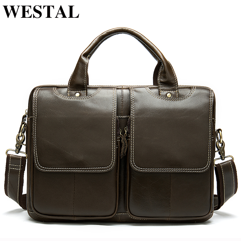 WESTAL Business Men Briefcase Bag Men's Genuine Leather Computer/Laptop Bag Leather Lawyer/office Bags For Men Messenger Bags