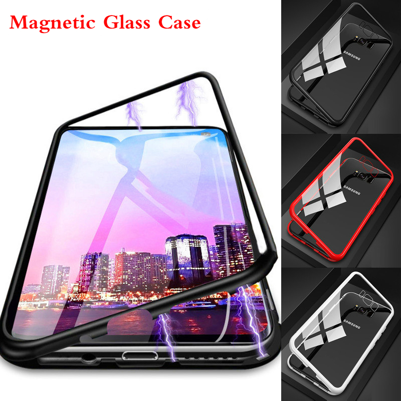 Metal Magnetic Adsorption Flip <font><b>Case</b></font> For <font><b>Samsung</b></font> Galaxy S10 S8 S9 Plus S7 Edge Note 10 8 9 A10 <font><b>A50</b></font> A9 A7 2018 <font><b>Glass</b></font> Magnet Cover image