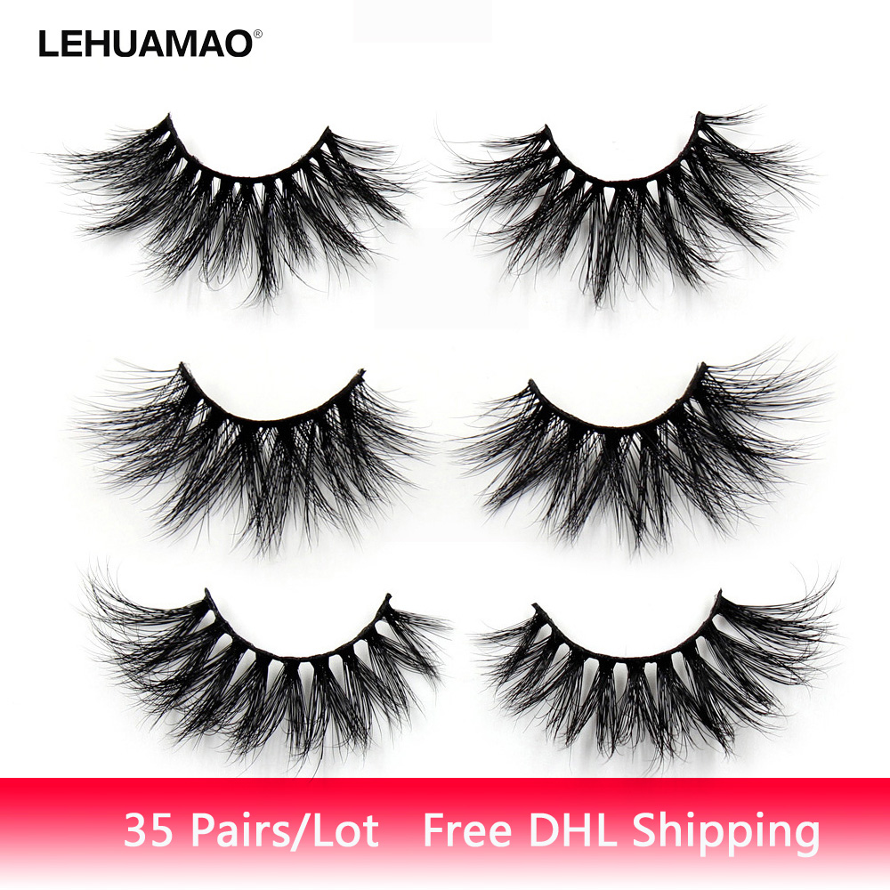 LEHUAMAO 35Pairs/lot  Mink Lashe 3D 25mm Mink Eyelashes Criss-cross  Fluffy False Eyelashes Popular Lashe Dramatic Eyelashes