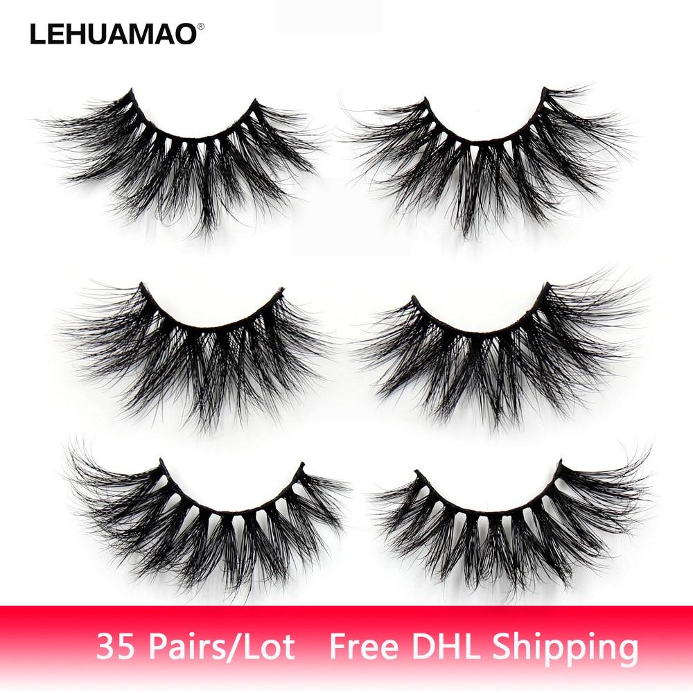 LEHUAMAO 35Pairs/lot  Mink Lashe 3D 25mm Mink Eyelashes Criss cross  Fluffy false eyelashes Popular Lashe Dramatic Eyelashes-in False Eyelashes from Beauty & Health