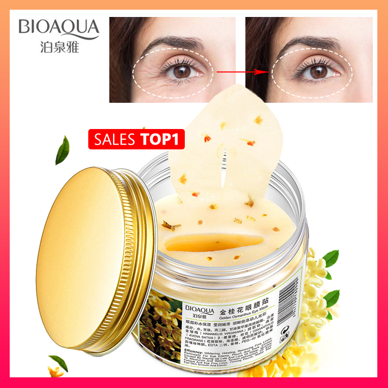 BIOAQUA Gold Osmanthus Eye Patches Mask Collagen Gel  Protein Sleep Patche Remover Dark Circles Eye Bag Eye Care 80Pcs/ Bottle
