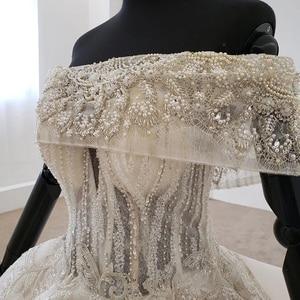 Image 5 - Htl1106 플리츠 볼 가운 웨딩 드레스 럭셔리 보트 넥 바닥 길이 웨딩 드레스 플러스 사이즈 커브 모양 로브 mariage en perle