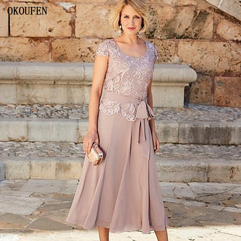 Gorgeous Dusty Rose Plus Size Mother Of The Bride Dresses With Short Sleeves Jewel Sashes Scoop Tea-Length Wedding Guest Gowns