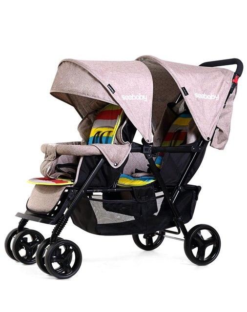 2019 nouveau purle couleur bébé poussette confortable simple jumeaux landau