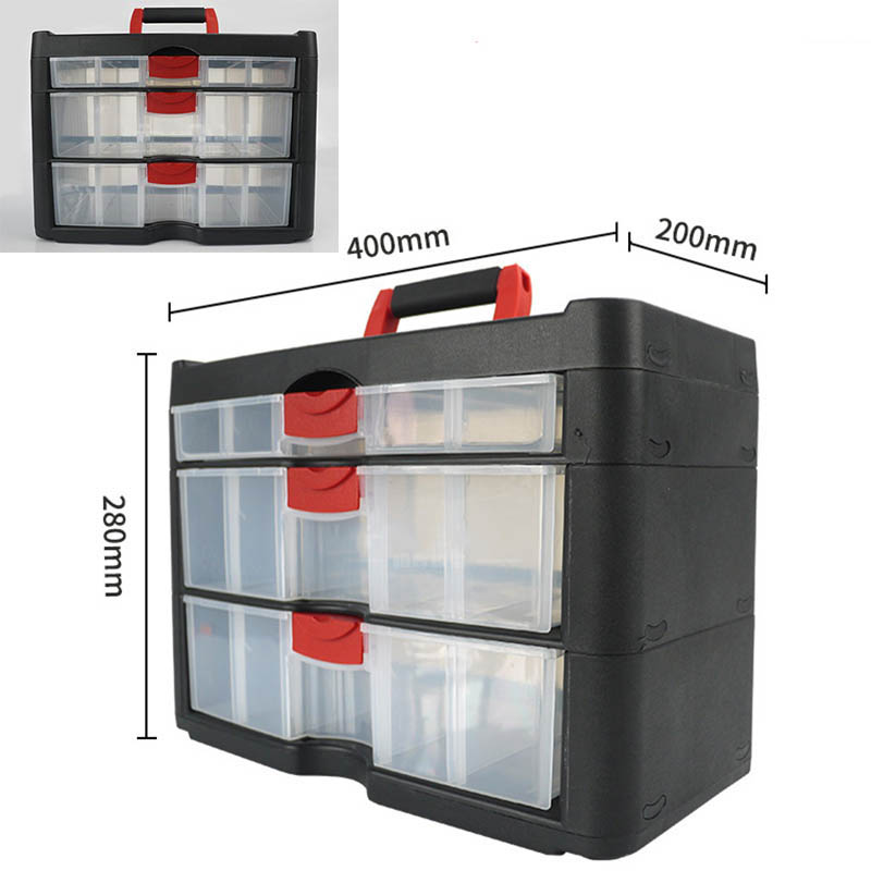 Drawer-type Toolbox Large Thickened Three-layer Storage Box Plastic Parts Component Box Household Tool Box