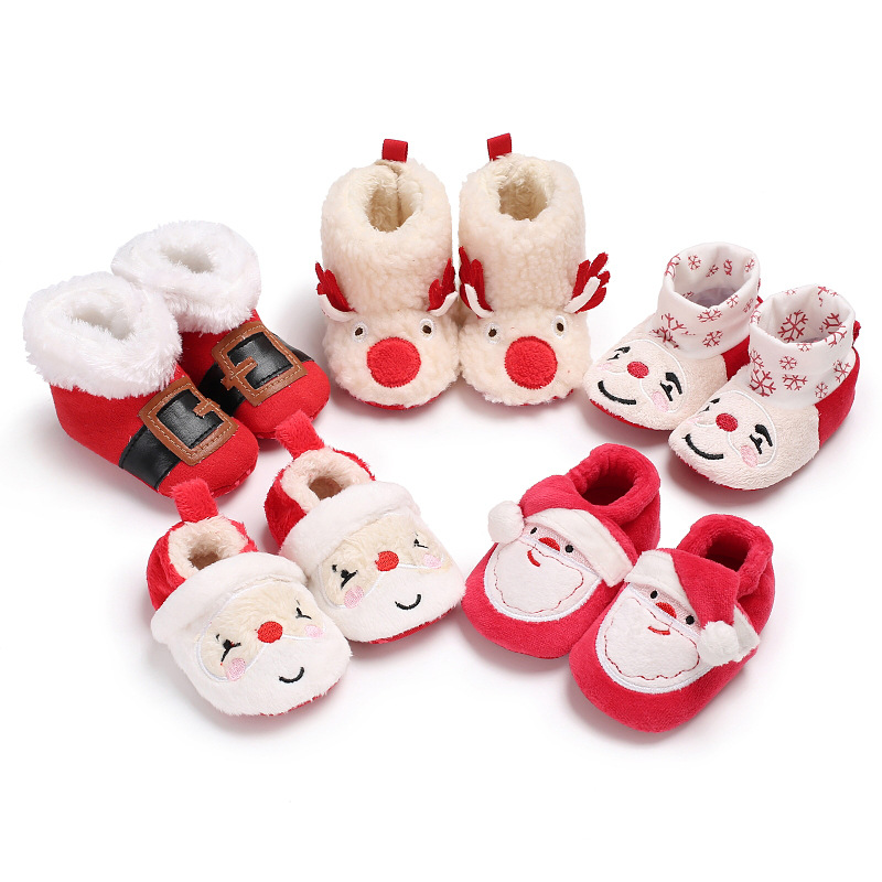 2019 New Christmas Baby Shoes Baby Boys Girls Winter Warm Santa Claus First Walkers Cute Xmas Baby Boots DS9