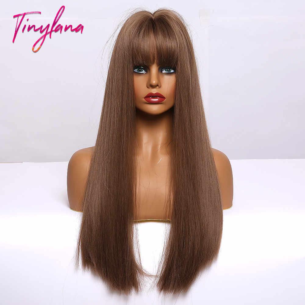 TINY LANA syntetyczne peruki do włosów z Bangs długie proste ciemnobrązowe peruki dla kobiet Afro wysokiej temperatury włókna na imprezę Cosplay peruki