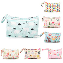 1Pcs Stroller Carry Bag Portable Diaper Bags Wet Dry Nappy Handbag for Travel Reusable Cartoon Printed Baby Nappy Changing