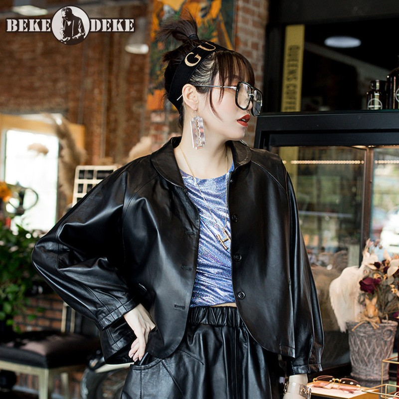 2020 New Women Short Loose Fit Batwing Sleeve Coat Gothic Streetwear Cardigan Outwear Ladies Sheepskin Genuine Leather Jacket