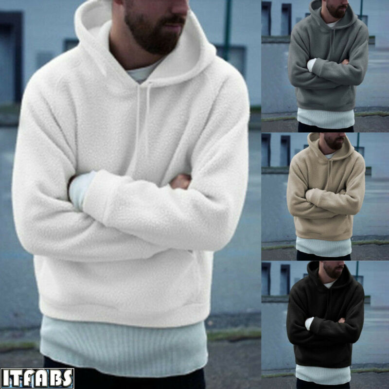 Men's Winter Fluffy Fleece Hoodies Plush Hooded Sweatshirt Outwear Warm Hoodie Hoody Palace Pullover Outwear