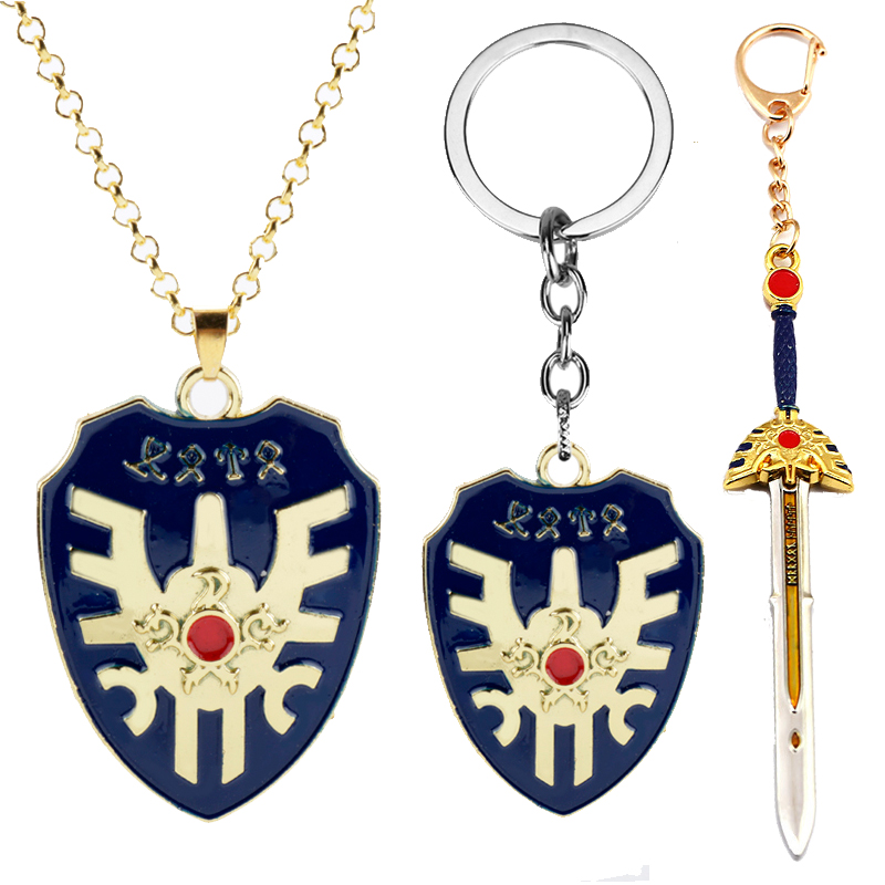 Online Game DRAGON QUEST Keychains Shield Sword of Road Pendant Keyring Jewelry Men's Keychain Fashion Enamel Car Key chain NEW image