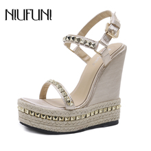 NIUFUNI Ladies Waterproof Platform Sandals Women Shoes Summer High Heels Ankle Strap Rivet Wedges Belt Buckle Roman Gladiator