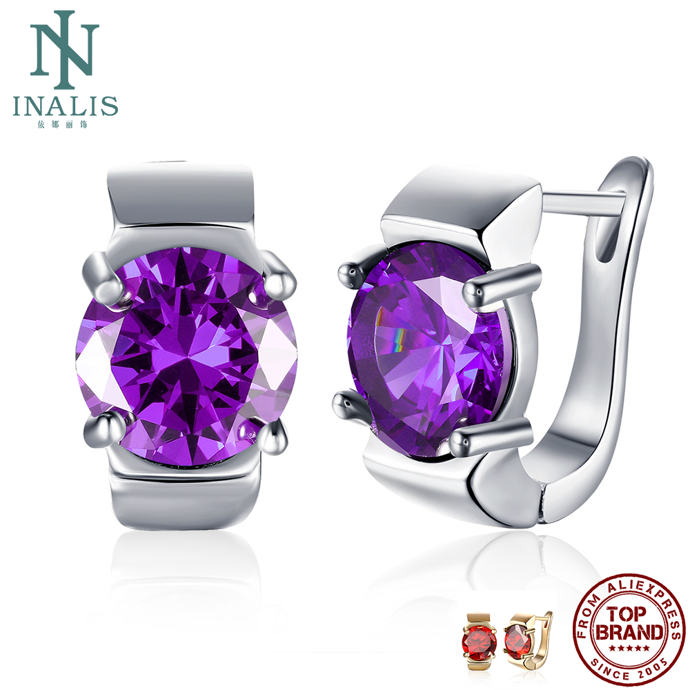 INALIS Stud Earrings For Women Romantic Purple Round Clear Cubic Zircon Copper Earring Anniversary Fashion Jewelry New Arrival