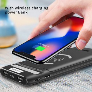 Image 1 - 3 IN 1 10000mAh Qi Wireless Charger Power Bank For Xiaomi Mi iPhone External Battery Wireless Charging Powerbank Phone Holder