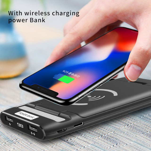 3 IN 1 10000mAh Qi Wireless Charger Power Bank For Xiaomi Mi iPhone External Battery Wireless Charging Powerbank Phone Holder