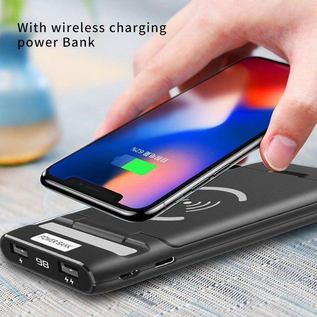 3 IN 1 10000mAh Qi kablosuz şarj güç bankası için xiaomi mi mi iPhone harici pil kablosuz şarj Powerbank telefon tutucu