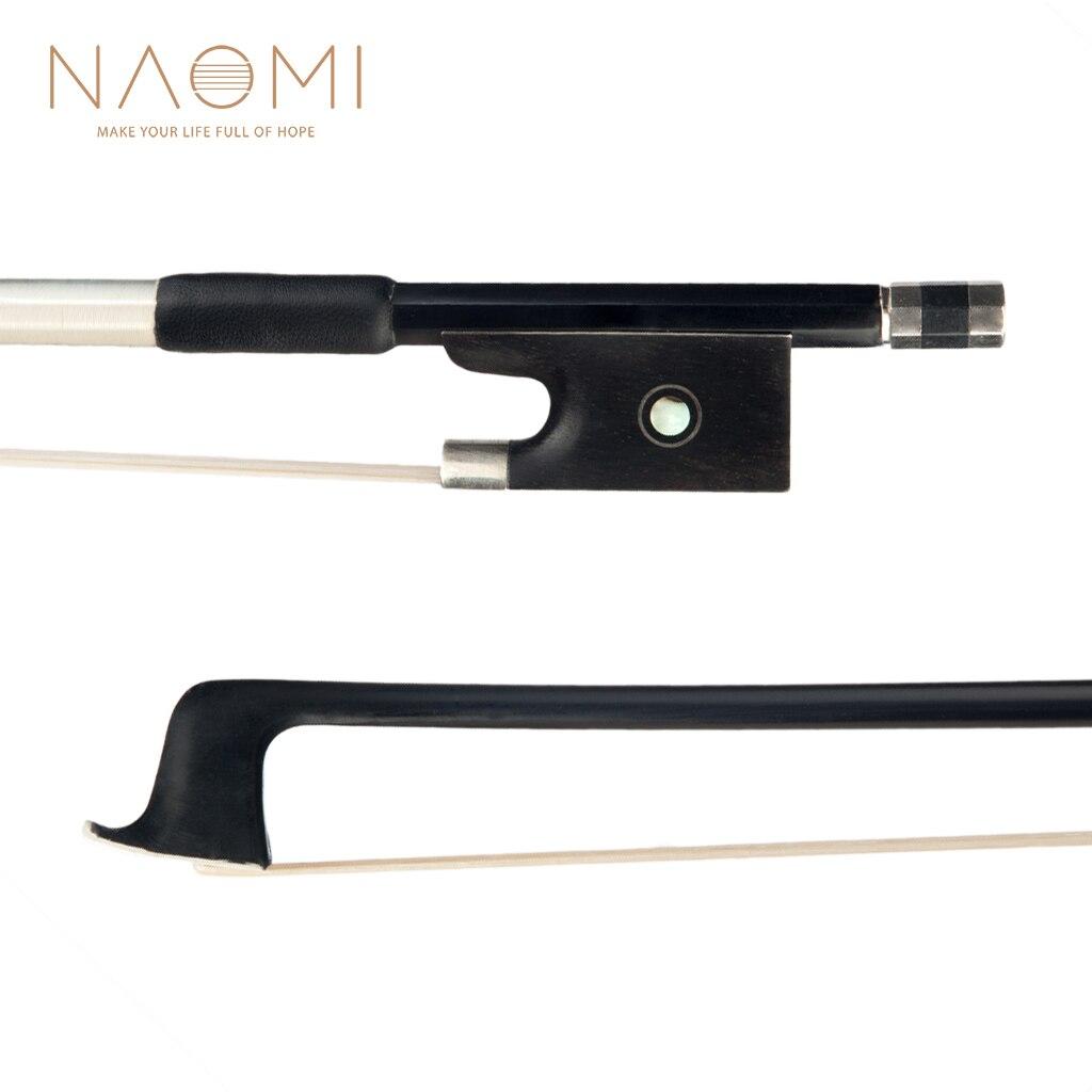 Naomi fibra de carbono arco 1/8 1/4 1/2 3/4 4/4 tamanho violino arco redondo vara natural crina ébano sapo perfeito desempenho