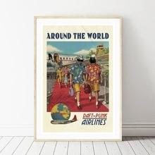 Francés DJ Band aerolíneas Vintage Poster viaje alrededor del mundo impresión Original decoración de pared Retro pintura de lienzo de decoración