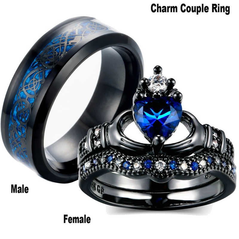 Charm Couple Ring Stainless Steel Black Men's Ring Blue Zircon Women's Ring Sets Valentine's Day Wedding Bands