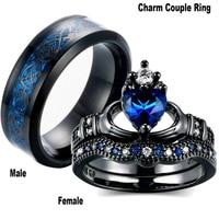 Carofeez-anillo de acero inoxidable con circón azul para hombre y mujer, sortija de boda, color negro, para el Día de San Valentín