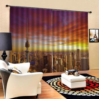 sunset city building curtains Customized size Luxury Blackout 3D Window Curtains For Living Room Decoration curtains